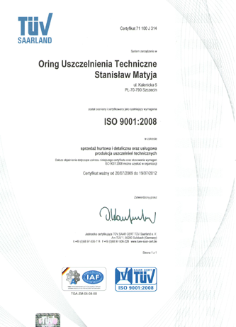 ORING - ISO 9001:2008